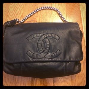 Chanel leather hobo bag with chain link strap